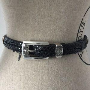 Brighton Black Woven Leather belt Sz ML/32